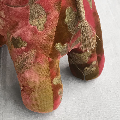 Kukka Silk Velvet Embroidered Elephant in Orchid