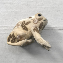 Moira Silk Velvet Embroidered Frog in Ivory
