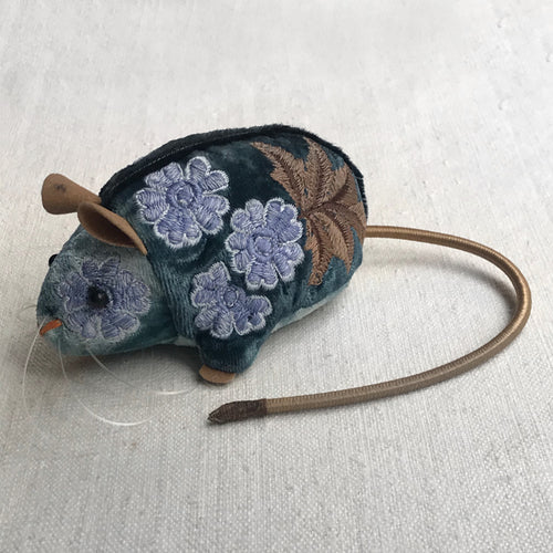 Kukka Silk Velvet Embroidered Mouse in Blue