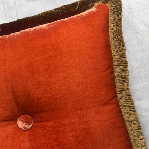 Silk Velvet Cushion in Tangerine with Gold Fringe