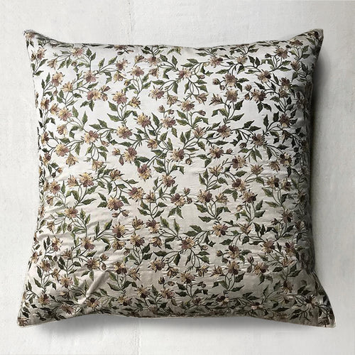 Pair of Pansy Cushions in Ivory Silk
