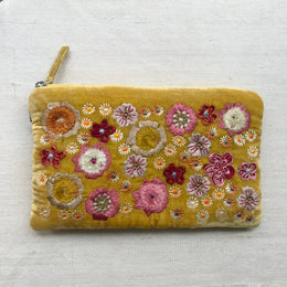 Beauty Embroidered Silk Velvet Cosmetic Zipper Pouch in Citrine