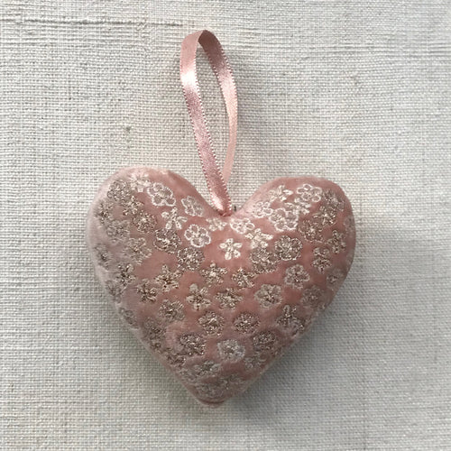 Silk Velvet Heart in Old Rose