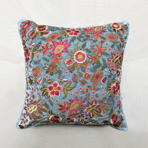 Amy Silk Velvet Cushion in Arctic Blue