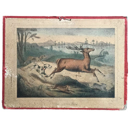 "19th Century French Lithograph ""Cerf, Lievre, Lapin"" - Deer, Hare, Rabbit"