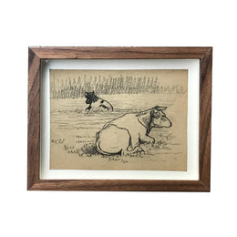 Evert Rabbers Framed Cows Drawing