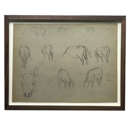 Evert Rabbers Framed Cow Drawings