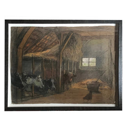 "Evert Rabbers Framed ""Cows in Barn"" Drawing"