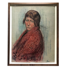 "Evert Rabbers Framed ""Portrait"" Drawing"