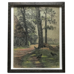 "Evert Rabbers Framed ""Hens"" Drawing"