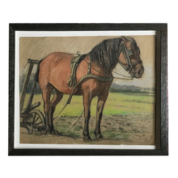 Evert Rabbers Framed Horse Drawing