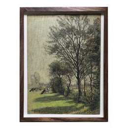 "Evert Rabbers Framed ""Holland Grazing"" Drawing"