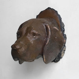 Black Forest Carved Brown Dog Head