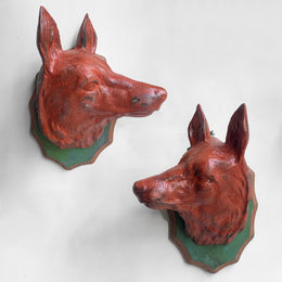 Black Forest Carved Fox Pair