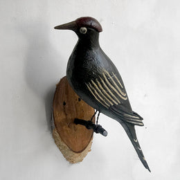 Black Forest Carved Large White Striped Bird