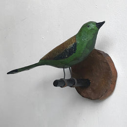 Black Forest Carved Green Bird