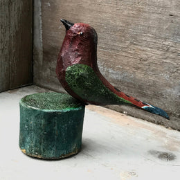 Black Forest Carved Red Bird on a Perch