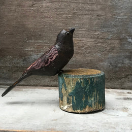 Black Forest Carved Brown Bird on a Perch
