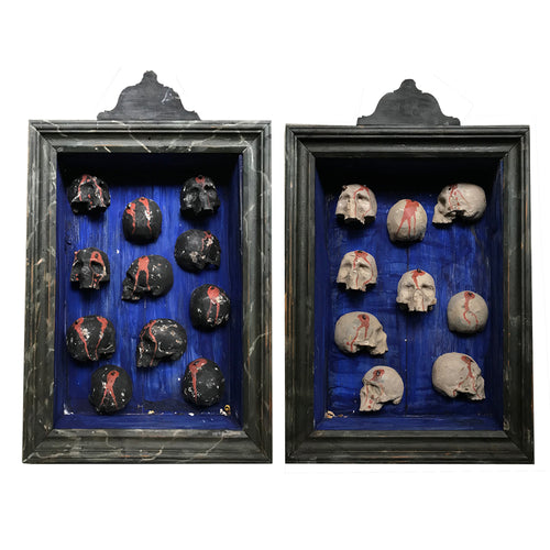 Late 19th Century Skull Reliquary Shadow Box Pair