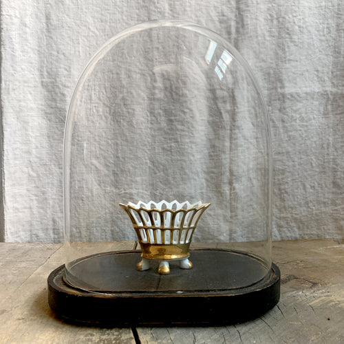 19th Century French Glass Dome with Ceramic Basket