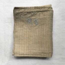 Embroidered 19th Century French Linen Towel