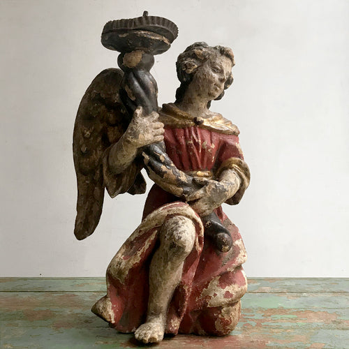 18th Century Black Forest Angel Candlestick Holder