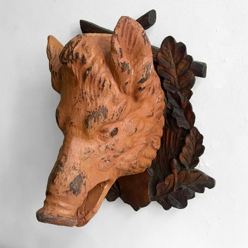 Black Forest Carved Painted Boar