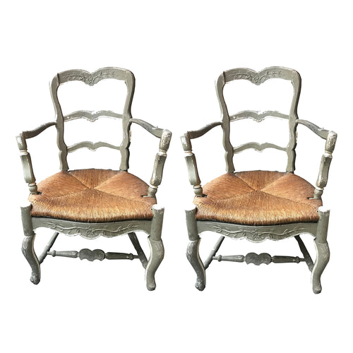 Pair of Antique French Rush Chairs
