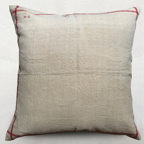 19th Century Linen and Charvet Editions Custom Pillow