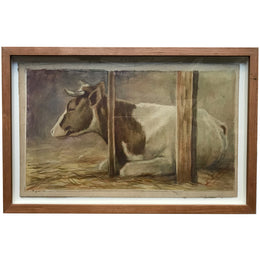 Evert Rabbers Framed Cow Drawing