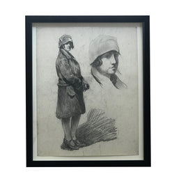 Evert Rabbers Framed Portrait Study Drawing