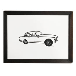 """Bristol Car"" Lino-cut in Vintage Frame"