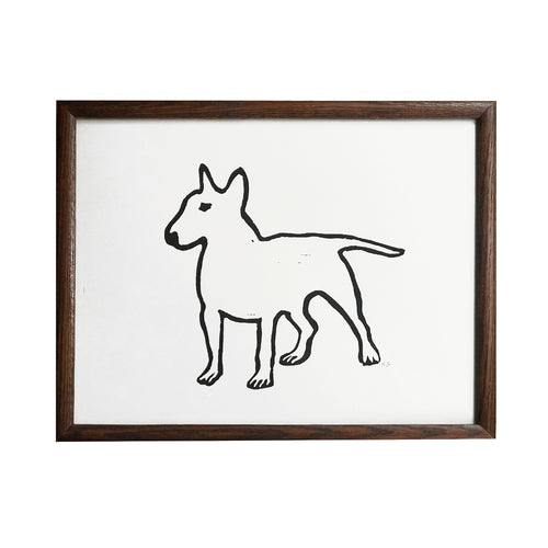 """Bull Terrier"" Lino-cut in Vintage Frame"
