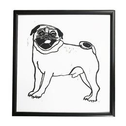 "Oversized ""Pug Love"" Lino-cut in Vintage Frame"