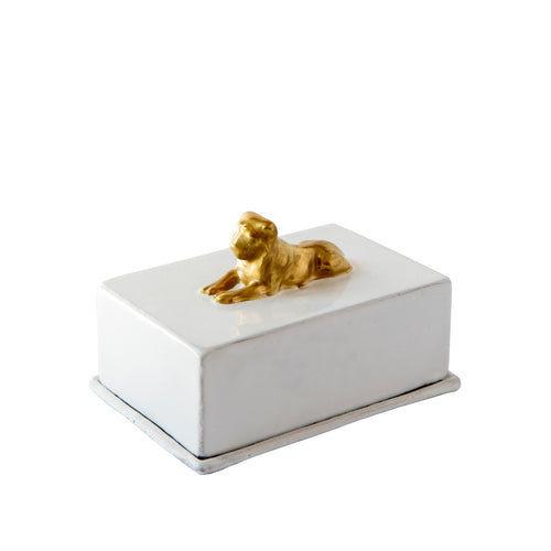 Guilded Lion Butter Dish