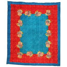 Lisa Corti Twin Quilt in Arabesque Corolla Blue Rust 180 x 270cm