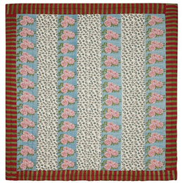 Lisa Corti King Quilt in Leopard Stripes Sky 250 x 270cm