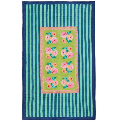Lisa Corti Twin Quilt in Nizam Stripes Turqoise-Acid Green 180 x 270cm