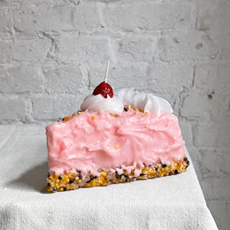 Rosa Torta Pink Cake Slice with Cherry Candle