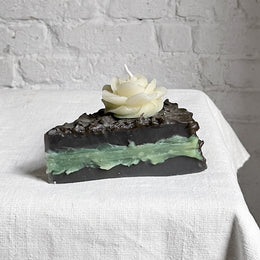 Chocolate Cake Slice Candle with Green Filling