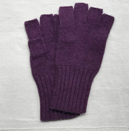 Cashmere Fingerless Gloves in Violet