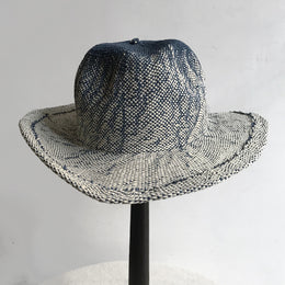The Bangkok Traditional Fedora Hat in Navy & White Ombre
