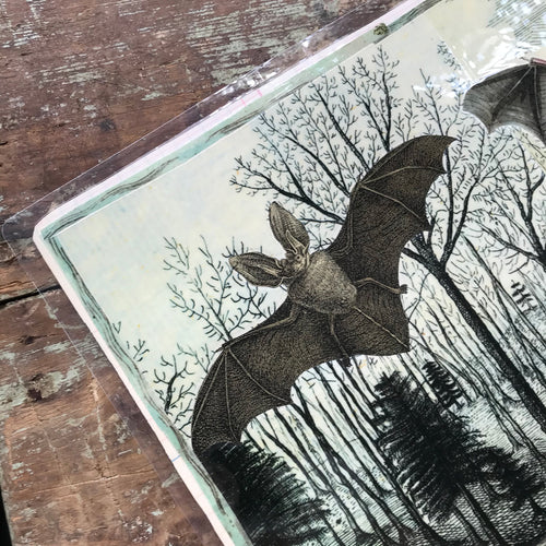 One of a Kind Collaged Mat - Two Bats