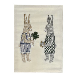 Embroidered Good Luck Bunnies Card