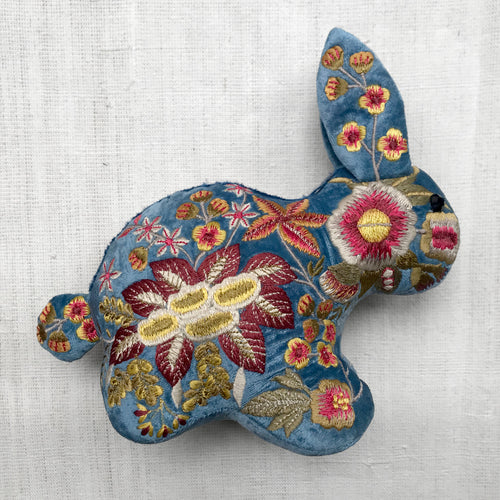 Amy Silk Velvet Embroidered Bunny in Riviera Blue