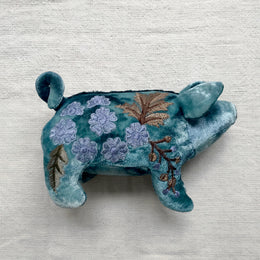 Kukka Silk Velvet Embroidered Piglet in Shaded Indigo