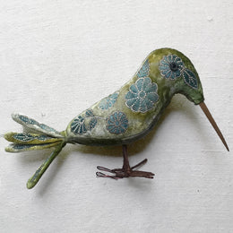 Mandy III Silk Velvet Embroidered Kingfisher Bird in Shaded Mint