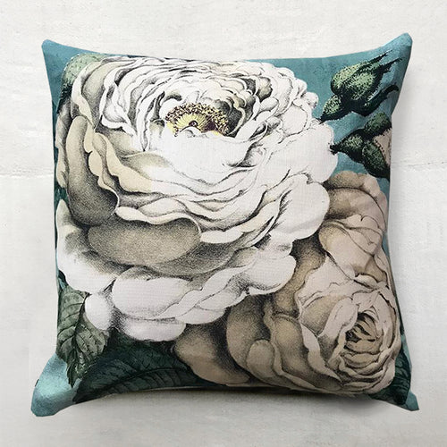 Swedish Blue Rose Pillow one hundred percent linen with a white rose and a sepia rose