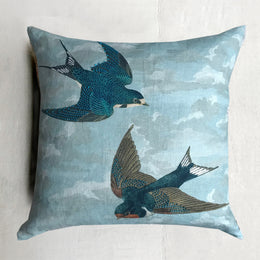 Chimney Swallow Sky Blue Pillow