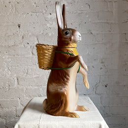 Papier-Mâché Standing Bunny With Basket in Brown